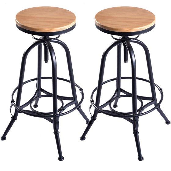 Set Of 2 29 Inch Vintage Wood Bar Stool Dining Chair: Costway Set Of 2 Vintage Bar Stools Industrial Metal