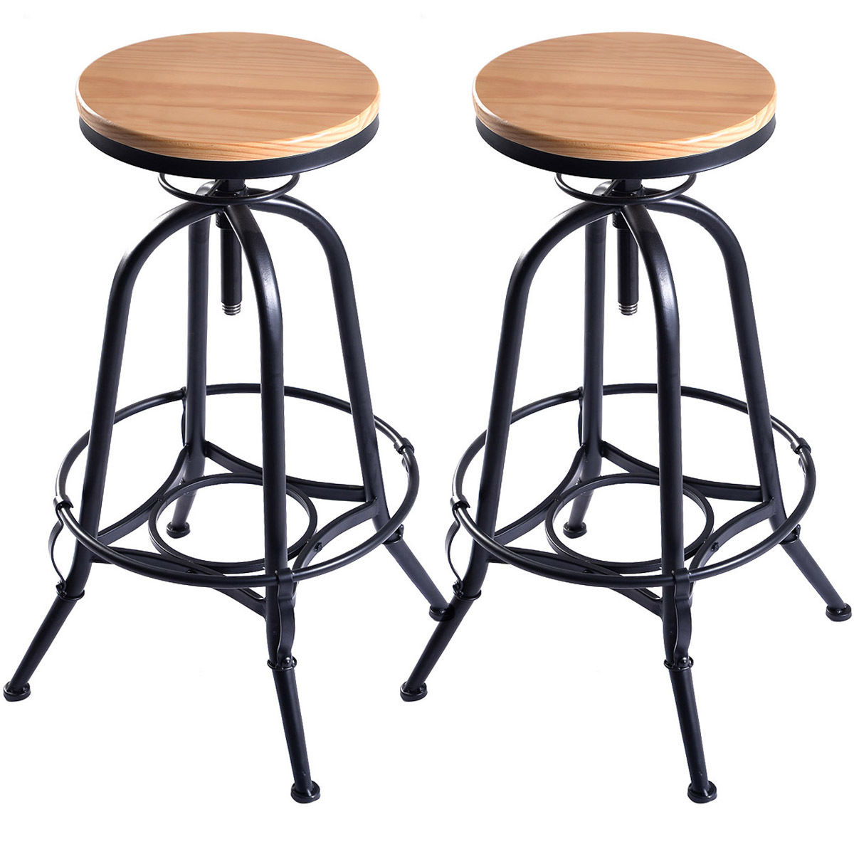 Costway Set of 2 Vintage Bar Stools Industrial Metal Design Wood Top Adjustable Swivel  sc 1 st  Walmart & Swivel Bar Stools islam-shia.org