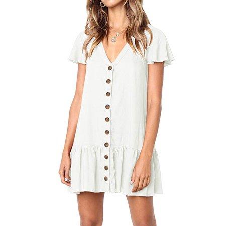 Womens Floral V Neck Button Down Mini Dress Ruffle Hem Short Sleeves Tunic Dresses
