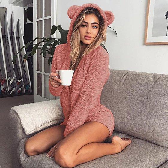 8261c979a8e7 UKAP - Warm Pajama Hooded Cute Rabbit Ear Fleece Women Soft Velvet Onesies  Jumpsuit Long Sleeve Shorts Sleepwear leisure Loungwear - Walmart.com
