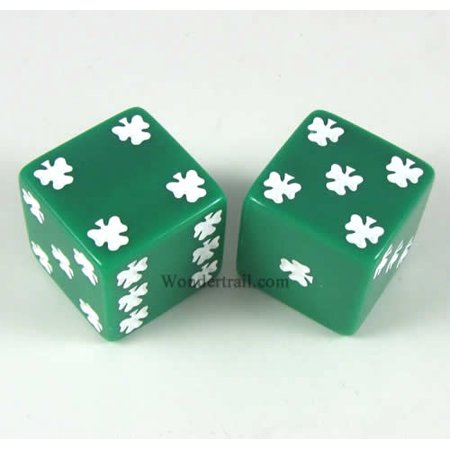 Green Lucky Dice with White Clovers D6 25mm (1in) Pack of 2 Koplow Games