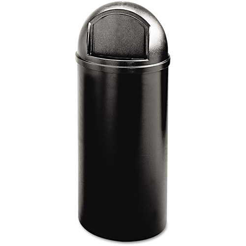 Rubbermaid Commercial Marshal Classic Round Black Polyethylene Container, 25 gal
