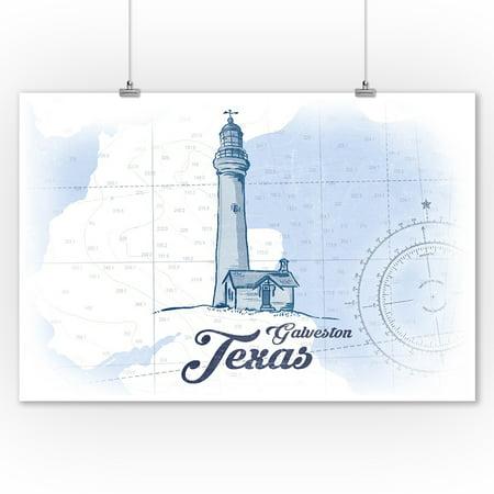 Galveston, Texas - Lighthouse - Blue - Coastal Icon - Lantern Press Artwork (9x12 Art Print, Wall Decor Travel -