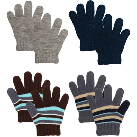Emmalise Children Kids Winter Cold Weather Winter Knit Gloves - 3 - 8 yrs Old - Black Light White Gloves