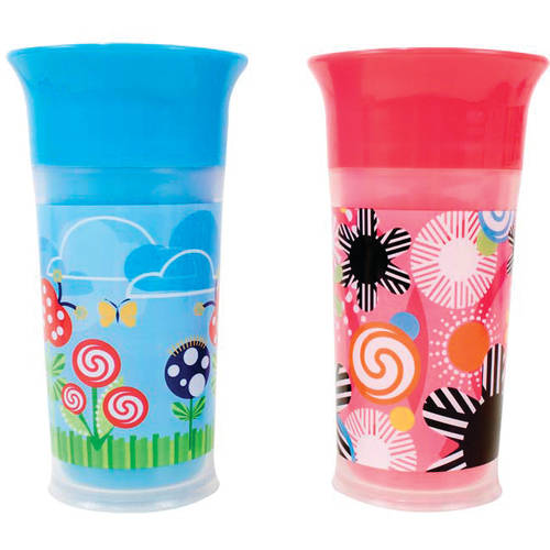 Sassy 9 oz Insulated Grow Up Cup, BPA-Free, 2-Pack, Girl
