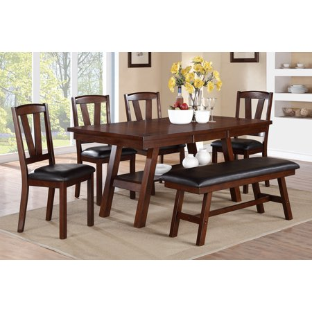 Bold Design Modern Dark Walnut 6pc Set Dining Table Chairs & Bench Solid Wood Unique V Shape Back Chairs Cushion Seat