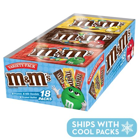 M&M'S Variety Pack Chocolate Candy Singles Size, 30.58 Ounce, 18 Count Box