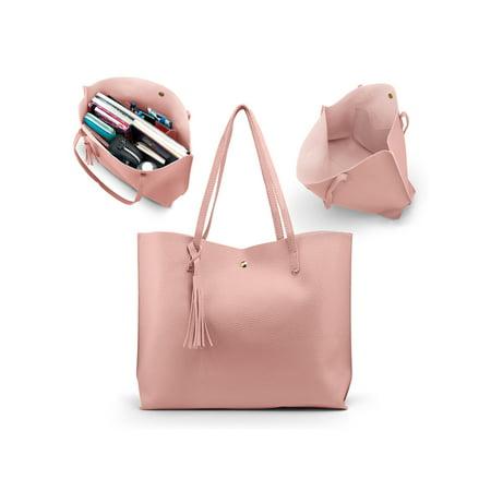 fcbff4c9418 Oct17 - Women Tote Bag Tassels Leather Shoulder Handbags Fashion Ladies  Purses Satchel Messenger Bags - Pink - Walmart.com