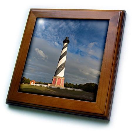 3dRose North Carolina, Cape Hatteras Lighthouse - Framed Tile, 6 by 6-inch