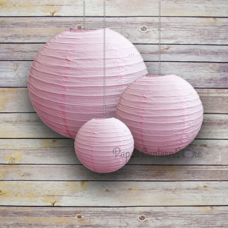"8/12/16"" Pink Round Paper Lanterns, Even Ribbing (3-PACK Cluster)"