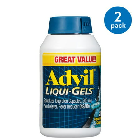 Foods Liquid Multi Gels ((2 Pack) Advil Liqui-Gels (200 Count) Pain Reliever / Fever Reducer Liquid Filled Capsule, 200mg Ibuprofen, Temporary Pain Relief, Pain reliever)
