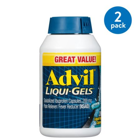 (2 Pack) Advil Liqui-Gels (200 Count) Pain Reliever / Fever Reducer Liquid Filled Capsule, 200mg Ibuprofen, Temporary Pain Relief, Pain - Acrylic Pan