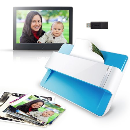 Plustek Photo Digital Kits – Photo Scanner with Feeder + Digital Photo Frame (1280x800) + 32G USB Drive ()