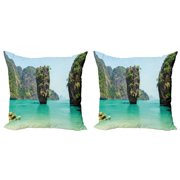 Island Throw Pillow Cushion Cover Pack of 2, James Bond Stone Island Landscape in Tropical Beach Cruising Journey of Life Photo, Zippered Double-Side Digital Print, 4 Sizes, Green Brown, by Ambesonne