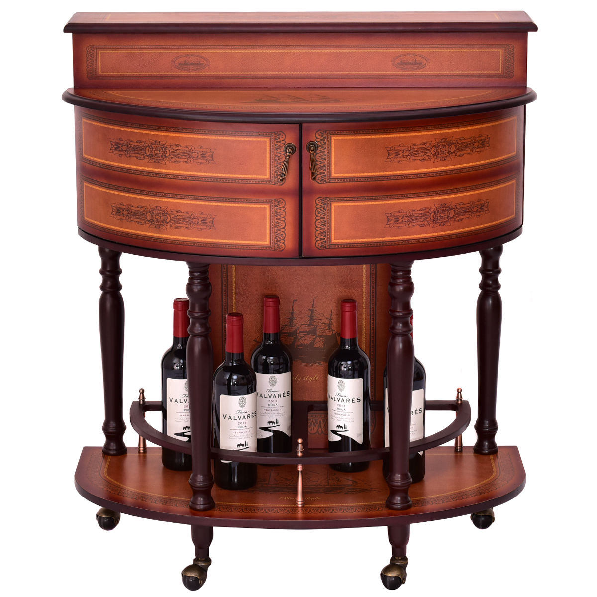 Goplus Rolling Vintage Wine Cabinet Bar Stand Wood Storage Holder Liquor Bottle Shelf  sc 1 st  Walmart & Liquor Cabinets