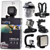 GoPro Hero 4 HERO4 Session CHDHS-101 with Headstrap + Chest Harness Mount + Wrist Glove Strap + Suction Cup + LED Light + Opteka X-Grip Action Stabilizer Weighing just 2.63 ounces, the HERO4 Session from GoPro is 50% smaller and 40% lighter than previous HERO4 models. Sporting up to 1080p60 video capture (1920 x 1440 at 30 fps), notable design tweaks include a cube-like shape that can be virtually flush-mounted as well as an integrated waterproof housing rated to 33'. Keeping things simple, the HERO4 Session uses just a single button to power the camera on and start recording.<br /><br /><b>In the box:</b><br />- GoPro HERO4 Silver<br />- Rechargeable Battery<br />- Standard Housing (131')<br />- Skeleton Backdoor<br />- Curved Adhesive Mount<br />- Flat Adhesive Mount<br />- Quick Release Buckle<br />- 3-Way Pivot Arm<br />- USB Cable<br /><br /><b>47th Street Photo Accessories:</b><br />- Car Suction Cup Mount<br />- Head/Helmet Strap Mount<br />- Chest Mount<br />- Wrist Glove Strap<br />- Opteka xGrip Action Handle<br />- Opteka VL5 LED Video Light<br />- Tripod Adapter<br />- 47th Street Photo Cleaning Cloth<br />