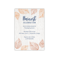 Personalized Thanksgiving Invite - Leaves - 5 x 7 Flat