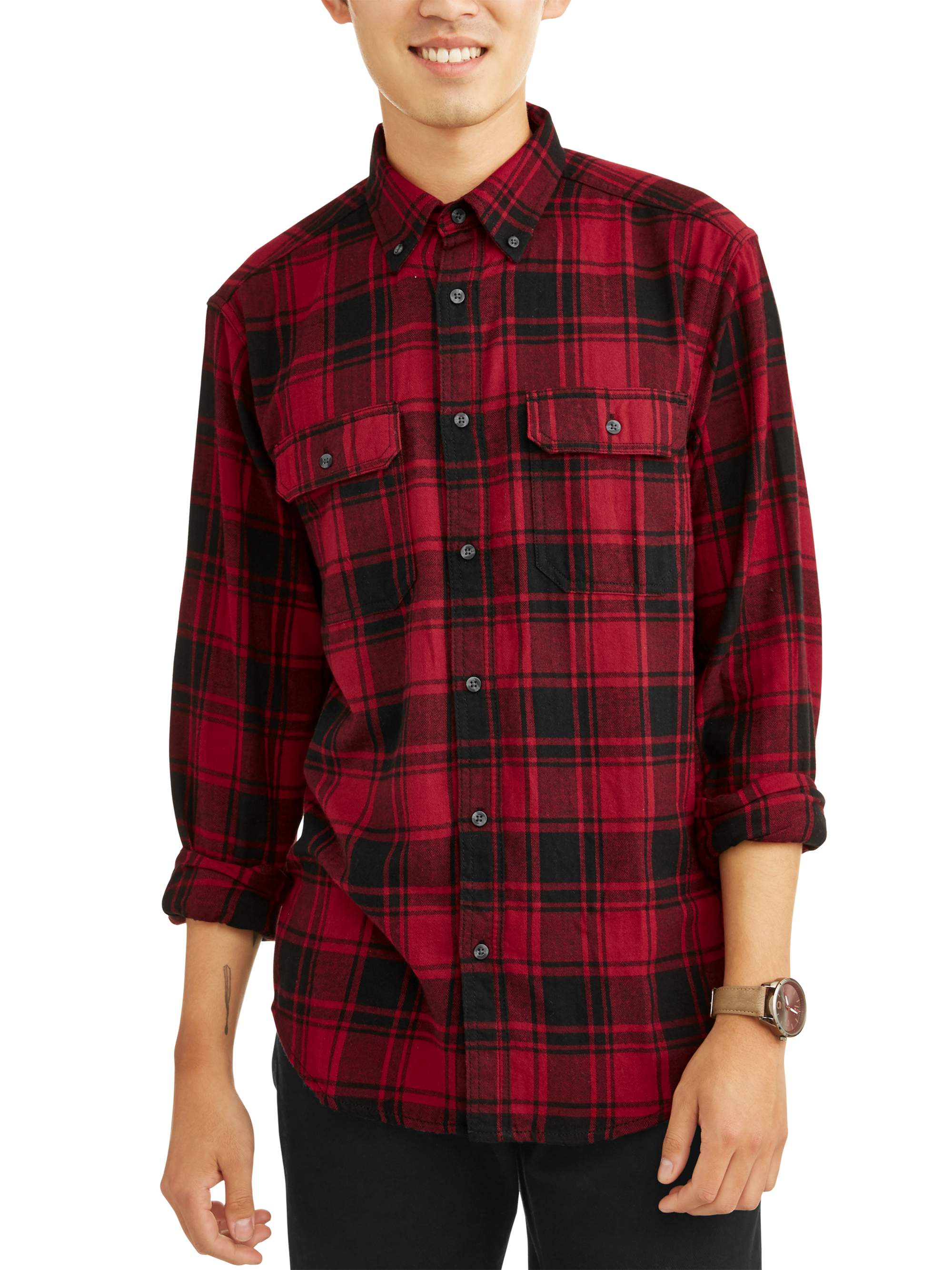 Men's and Big & Tall Long Sleeve Flannel Shirt, up to size...