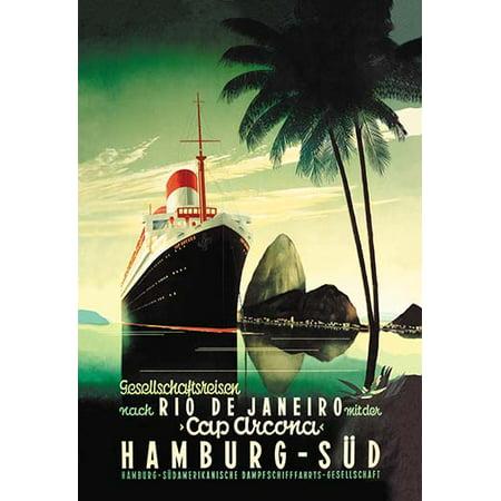 Hamburg to Rio de Janeiro on the Cap Arcona Steamship Fine art canvas print (20