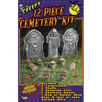 12pc Cemetery Kit Halloween Decoration - Halloween Cemetery Drawings