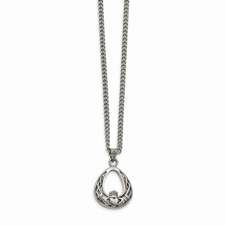 Mia Diamonds Stainless Steel Polished Claddagh Necklace -