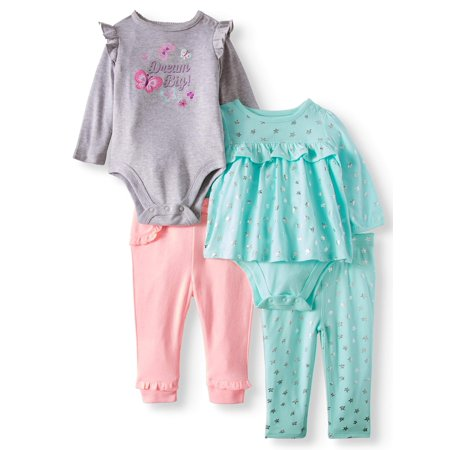 Babydoll Bodysuit, Flutter Bodysuit, Jeggings & Jogger Pants, 4pc Outfit Set (Baby Girls)