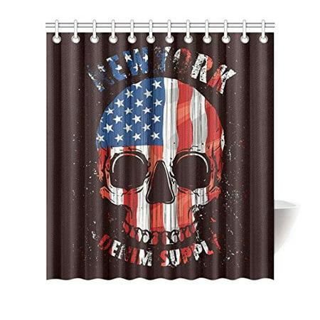 Mkhert Usa American Flag Skull New York Shower Curtain For Bathroom 66x72 Inch