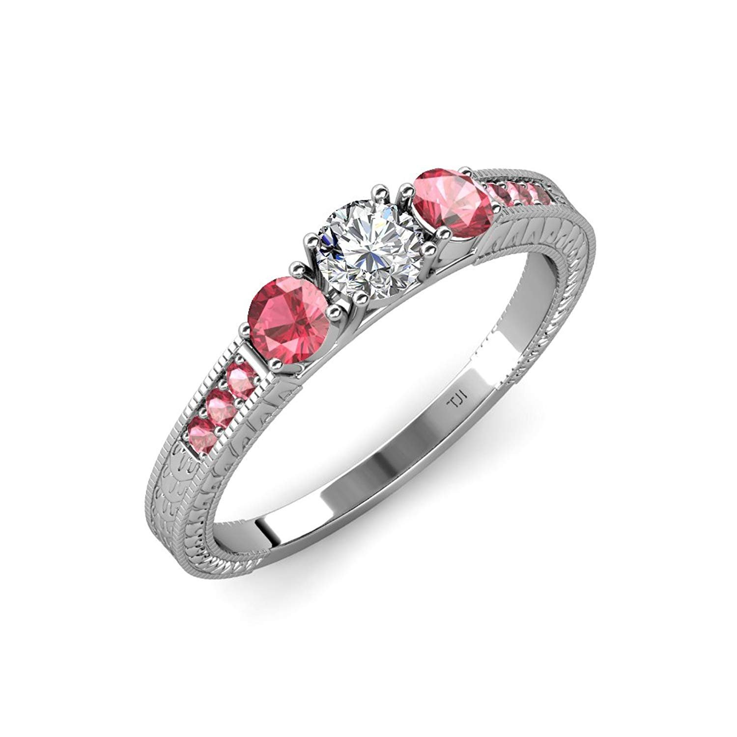 Diamond and Pink Tourmaline 3 Stone Ring with Side Pink Tourmaline 0.83 ct tw in 14K White Gold.size 6.5 by TriJewels