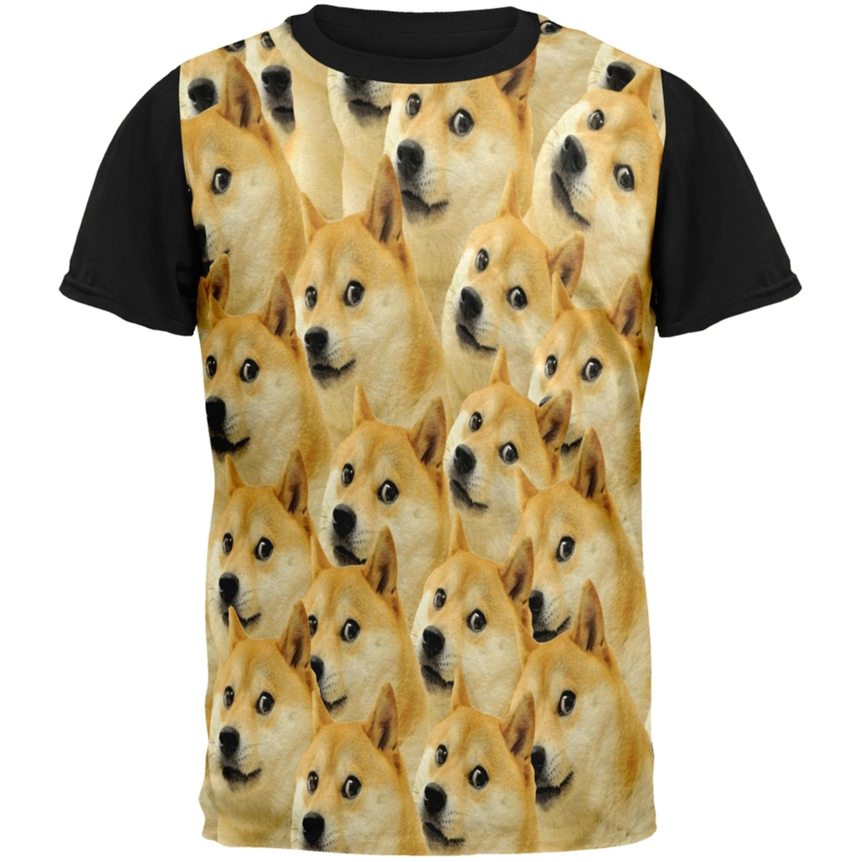 Doge Meme Adult Black Back T-Shirt