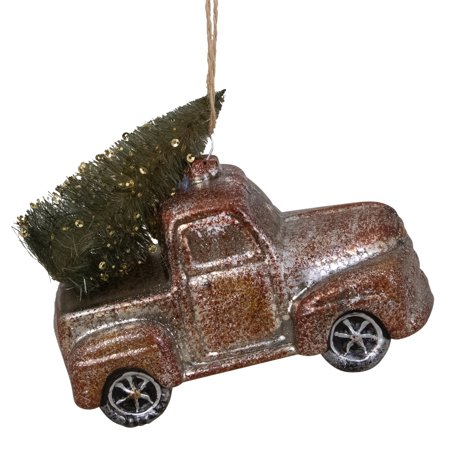 Old Fashioned Country Pick Up Truck Glass Christmas Ornament 5