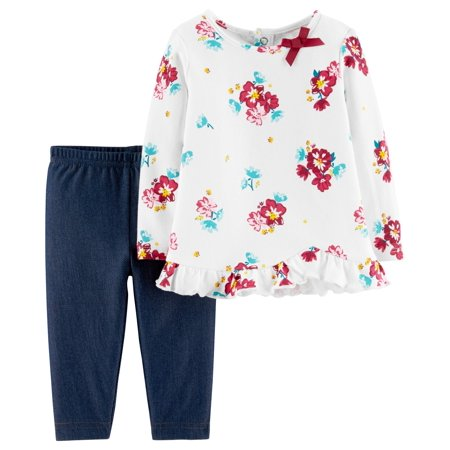 Child of Mine by Carter's Long Sleeve Floral Blouse & Pants, 2-Piece Outfit Set (Baby Girls) - Mime Outfit