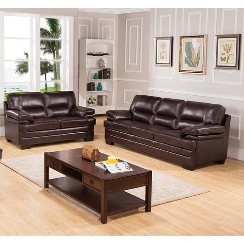 Coja San Paolo Top Grain Leather Sofa And Loveseat Set Walmart Com