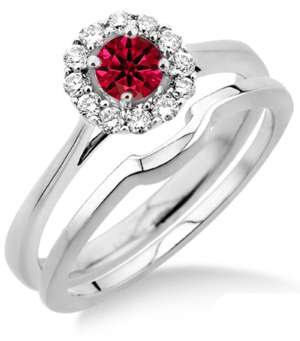1.25 Carat Ruby & Diamond Bridal set Halo on 10k White Gold by JeenJewels
