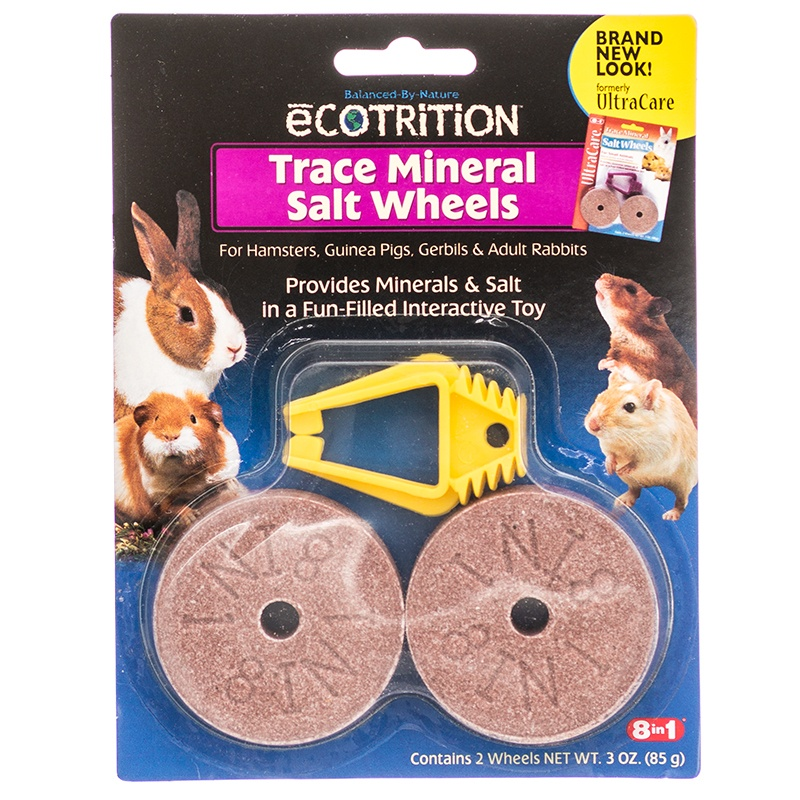 Ecotrition Trace Mineral Salt Wheels Spool Interactive Toy for Hamsters 2 Pack
