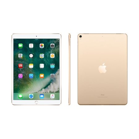 Silver and white 10.5 inch 64 gigabyte Apple iPad Pro with home screen showing crashing ocean waves