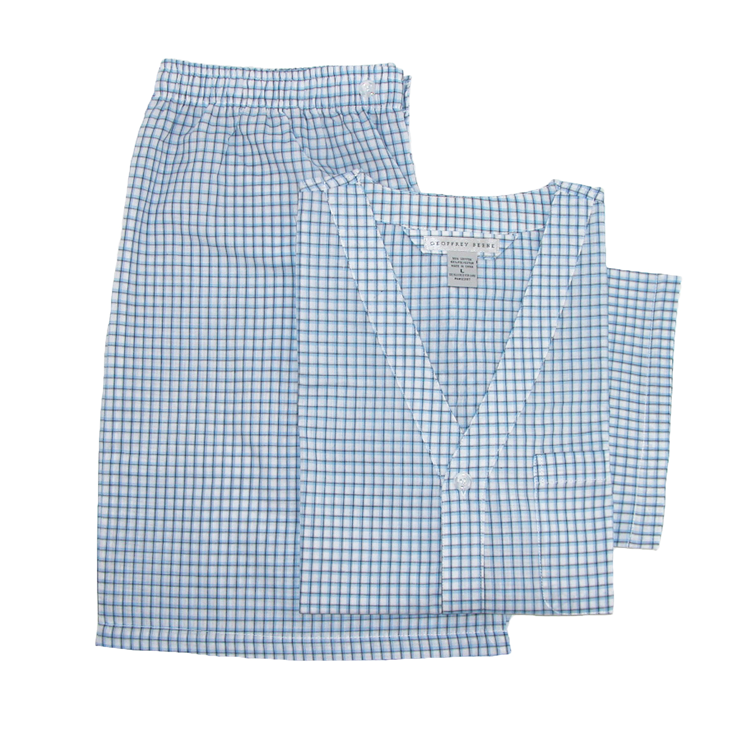 Geoffrey Beene Size 4X Mens Big & Tall Short Sleeve Knee Length Pajama Set, Blue Checks