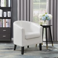 Belleze Club Chair Tub Faux Leather Armchair Seat Accent, White
