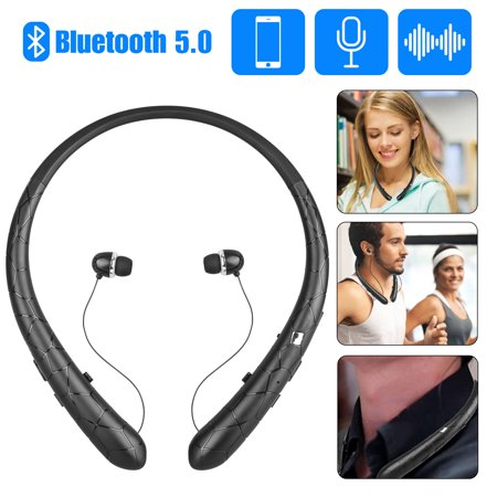 EEEKit Upgraded Bluetooth Headphones, V5.0 Wireless Neckband Headphones, Bluetooth Headset Retractable Earbuds, Call Vibrate & CVC6.0 Noise Cancelling Mic, Black Black Retractable Headphone
