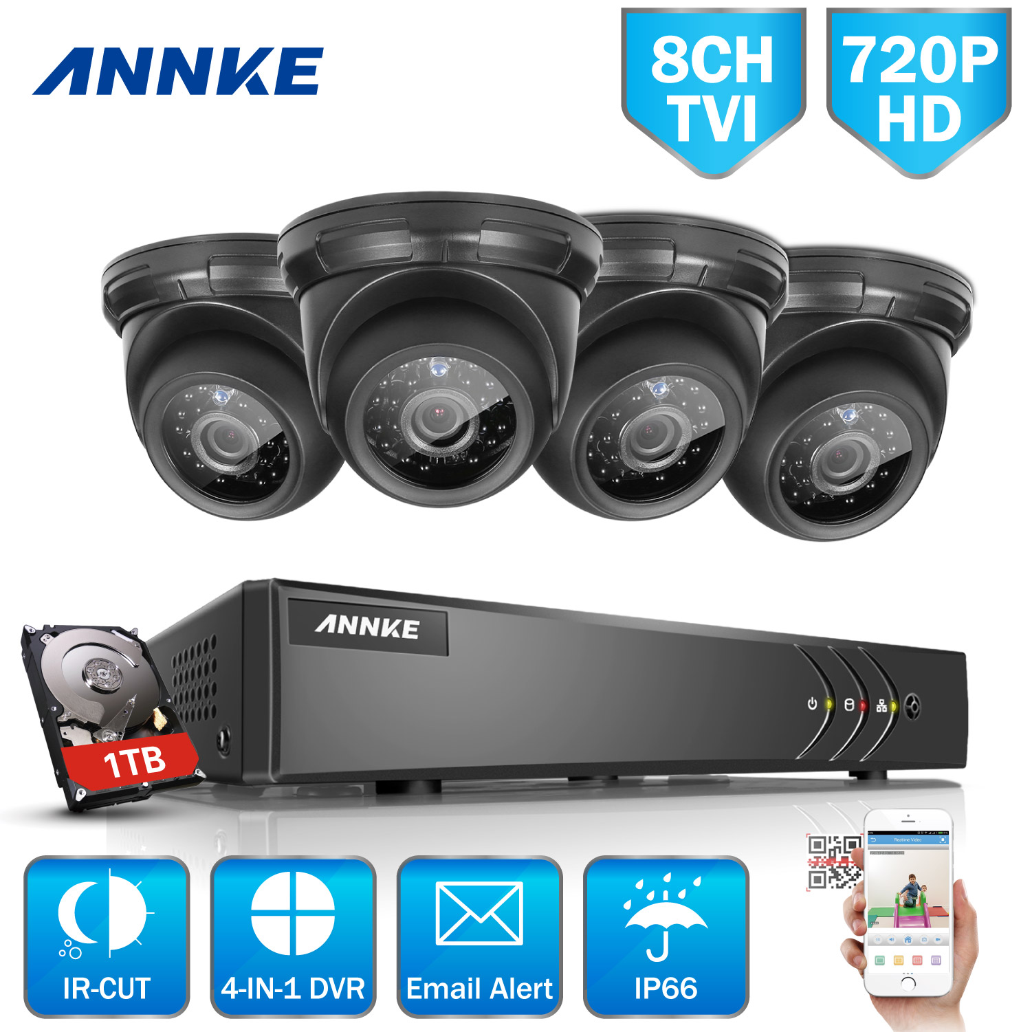 ANNKE 8CH Security 720p HD-TVI DVR Recorde System and 4Pcs 1.0MP Weatherproof Outdoor Security Cameras-White& NO Hard Drive Disk