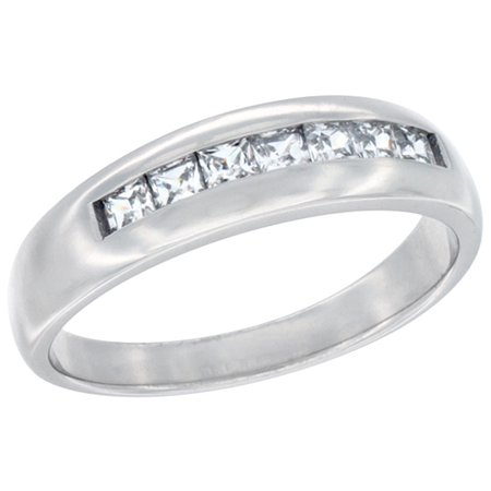Sterling Silver Cubic Zirconia Men's Wedding Band Ring Classic Channel Design, 1/4 inch wide, sizes 8 to (Channel Band Ring)