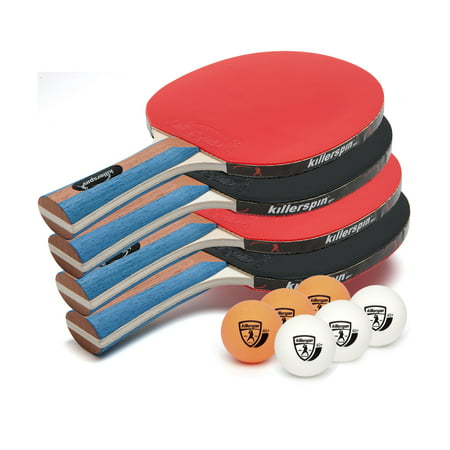Killerspin JET SET 4 Table Tennis Set with 4 Paddles and 6 (Best Butterfly Ping Pong Paddle)