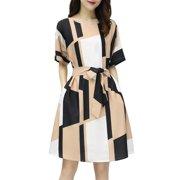 Women Wrap Maxi Dress PrintShort Sleeve Flowy Slit Tie Waist Party Wedding Dress