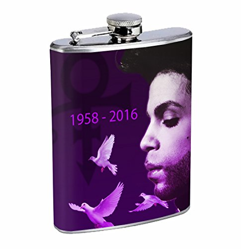 Prince Purple Rain The Artist Music Icon 8oz Stainless Steel Flask Drinking Whiskey