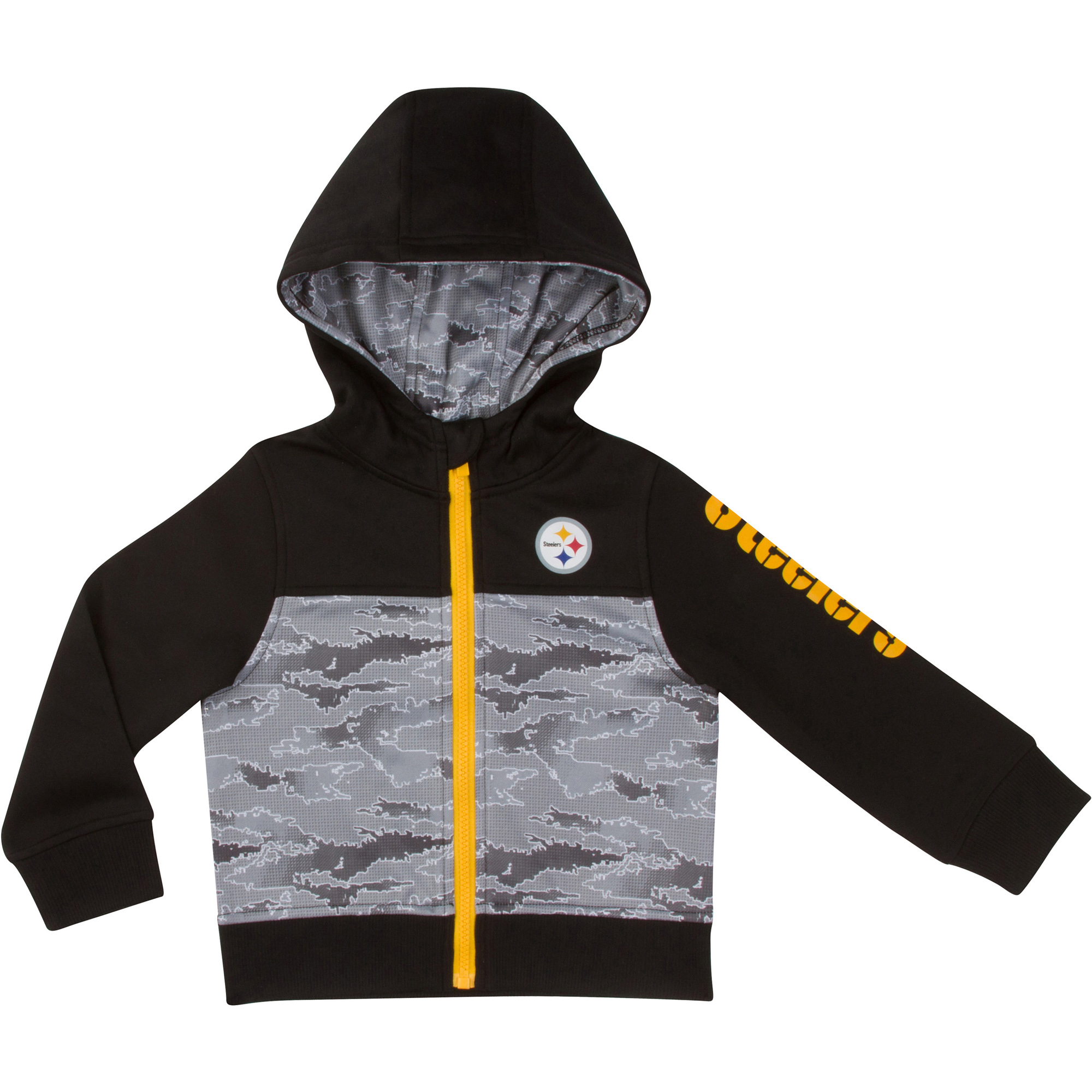 low priced c3741 2eff7 Toddler Gerber Black/Gray Pittsburgh Steelers Team Full-Zip Hoodie