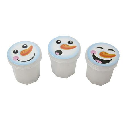 12 Snowman Winter Party Supplies Favor Set - Mini Snowman Slime / Putty (1 - Winter Party Supplies
