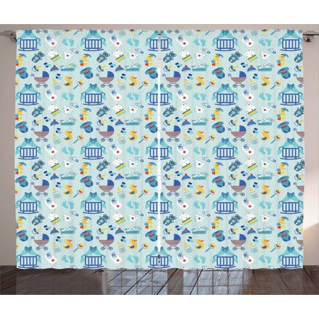 Baby Curtains 2 Panels Set, Newborn Sleep Crescent Moon Pacifier Nursery Star Polka Dots Image, Window Drapes for Living Room Bedroom, 108W X 90L Inches, Pale and Violet Blue Yellow, by Ambesonne
