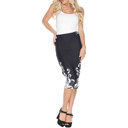 White Mark Women's Floral Paisley Pencil Midi Skirt