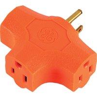 GE Heavy Duty 3-Outlet T-Shaped Power Outlet Adapter Splitter, Orange, 50281
