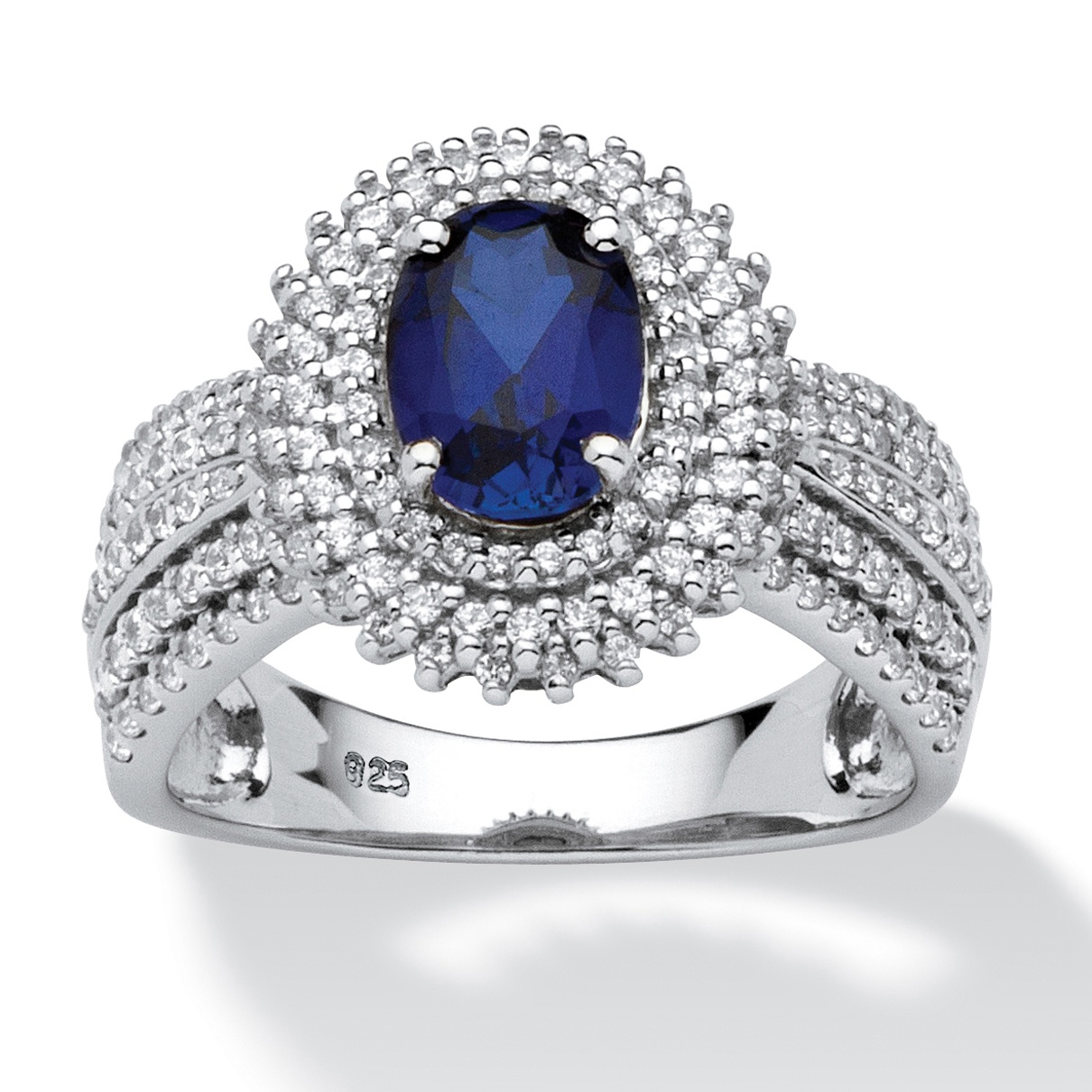 2.18 TCW Oval-Cut Lab Created Blue Sapphire Halo Ring in Platinum over Sterling Silver by PalmBeach Jewelry