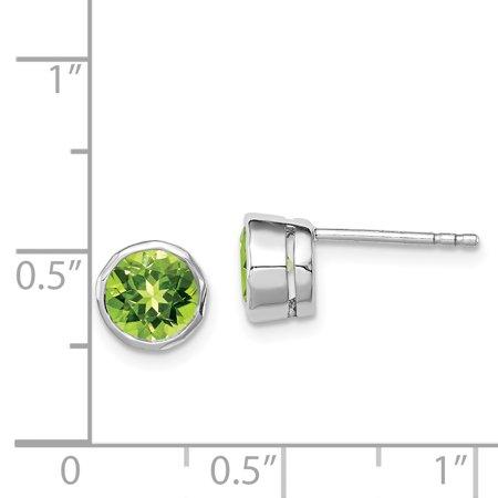 925 Sterling Silver Green Peridot Circle Stud Earrings Gemstone Fine Jewelry For Women Gifts For Her - image 5 de 6